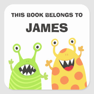 Funny monsters bookplates book stickers for kids