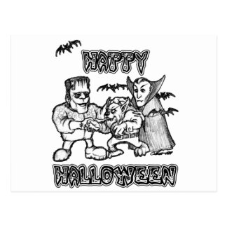 Funny Monsters - Halloween Postcard