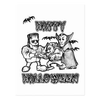 Funny Monsters - Happy Halloween Postcard