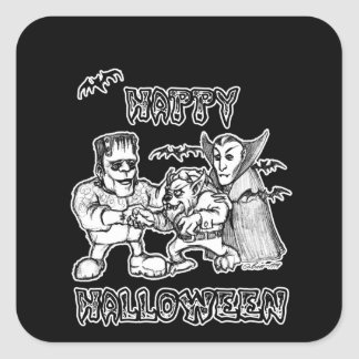 Funny Monsters - Happy Halloween Square Sticker