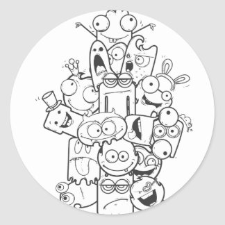 funny monsters round sticker