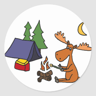 Funny Moose Camping Cartoon Classic Round Sticker