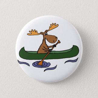 Funny Moose Canoeing Cartoon 2 Inch Round Button