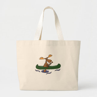 Funny Moose Canoeing Cartoon Large Tote Bag