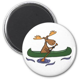 Funny Moose Canoeing Cartoon Magnet