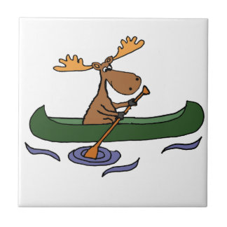 Funny Moose Canoeing Cartoon Tile