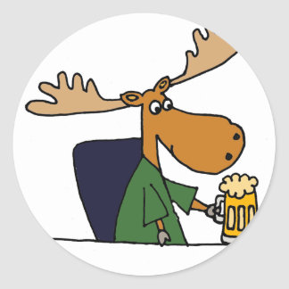 Funny Moose Drinking Beer Cartoon Round Sticker