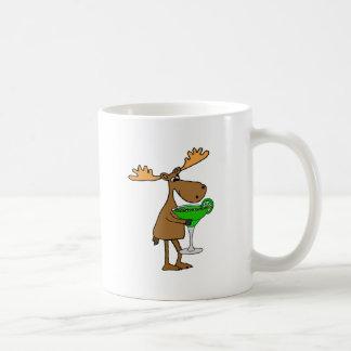 Funny Moose Drinking Margarita Artwork Coffee Mug
