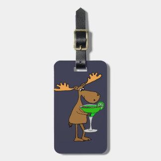 Funny Moose Drinking Margarita Artwork Luggage Tag