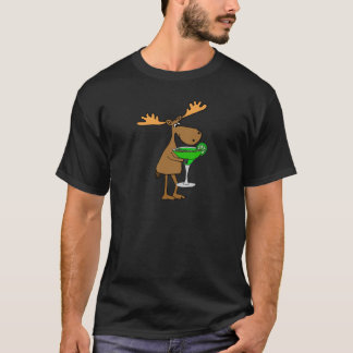 Funny Moose Drinking Margarita Artwork T-Shirt