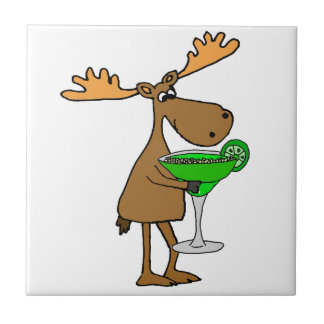 Funny Moose Drinking Margarita Artwork Tile