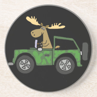 Funny Moose Driving Truck Art Coasters