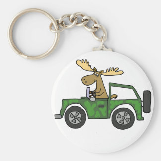 Funny Moose Driving Truck Art Keychain