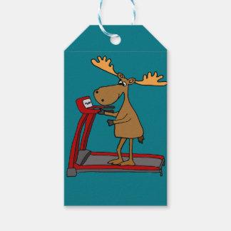 Funny Moose Exercising on Treadmill Cartoon Gift Tags