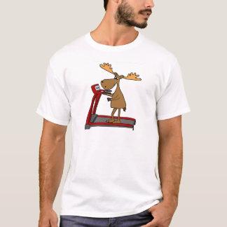 Funny Moose Exercising on Treadmill Cartoon T-Shirt