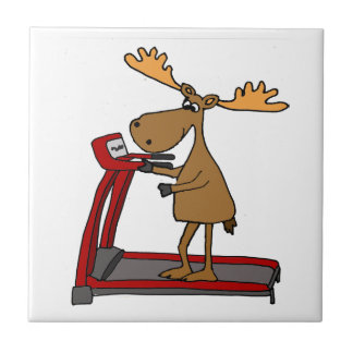 Funny Moose Exercising on Treadmill Cartoon Tile