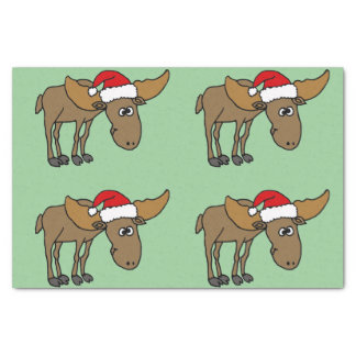Funny Moose in Santa Hat Christmas Tissue Paper