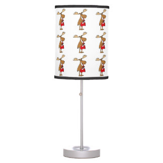Funny Moose is Playing Red Saxophone Art Table Lamp