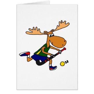 Funny Moose Playing Field Hockey Card
