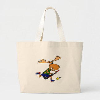Funny Moose Playing Field Hockey Large Tote Bag