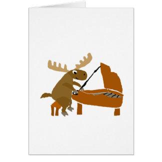 Funny Moose Playing Piano Original Art Card