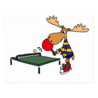 Funny Moose Playing Table Tennis Cartoon Postcard