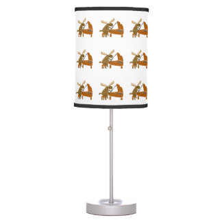 Funny Moose Playing the Piano Table Lamp