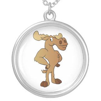 Funny moose silver plated necklace