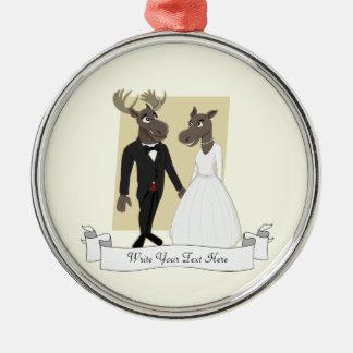 Funny Moose Wedding Cartoon Metal Ornament