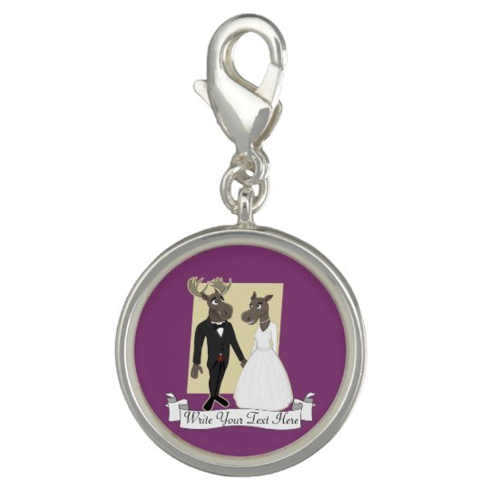 Funny Moose Wedding Cartoon Photo Charm