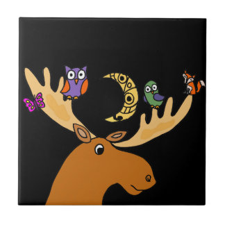 Funny Moose with Friends Art Tiles