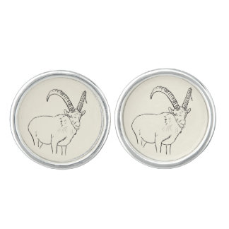 Funny Mountain Goat Line Drawing Animal Art Cufflinks