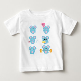 Funny Mouses in action for Baby Baby T-Shirt
