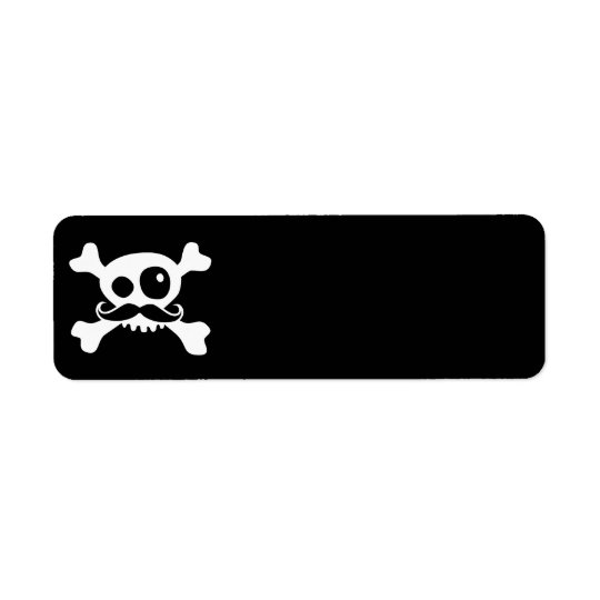 Funny Moustache Skull Return Address Label