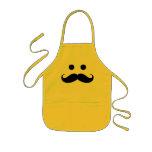 Funny Moustache Smiley Face Kids Apron