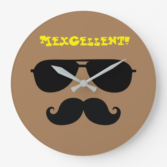 Funny moustache sun shades iconic mexican man large clock