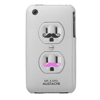 Funny Mr. and Mrs. Mustache Electrical Outlet Case-Mate iPhone 3 Case