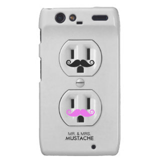 Funny Mr and Mrs Mustache Electrical Outlet Droid RAZR Case