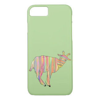 Funny Multicoloured Goat Stripy Animal Art Design iPhone 8/7 Case