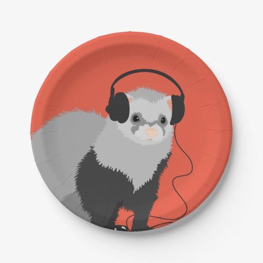 Funny Music Lover Ferret Paper Plate