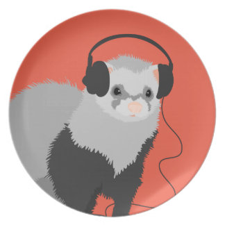 Funny Music Lover Ferret Party Plate