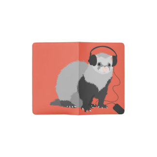Funny Music Lover Ferret Pocket Moleskine Notebook