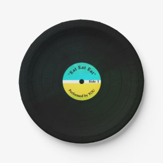 Funny musical look vinyl eating record plate cover
