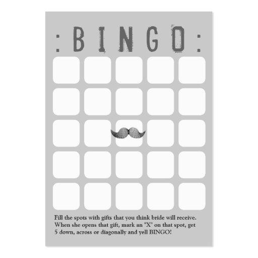 Funny Mustache 5x5 Grey Bingo Card Business Card