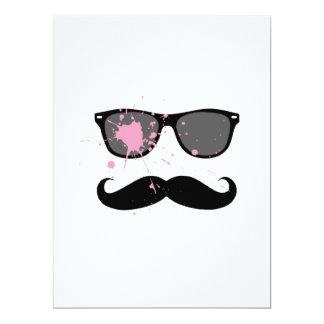 """Funny Mustache and Sunglasses 6.5"""" X 8.75"""" Invitation Card"""