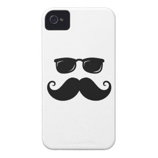 Funny mustache and sunglasses face iPhone 4 covers