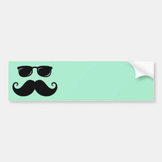Funny mustache and sunglasses face mint green bumper sticker