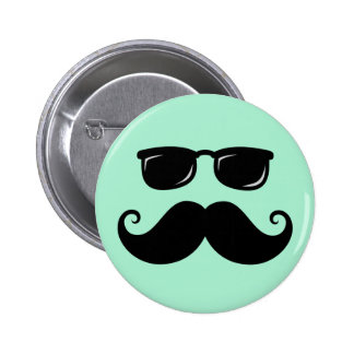 Funny mustache and sunglasses face mint green 2 inch round button