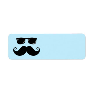 Funny mustache and sunglasses face on blue