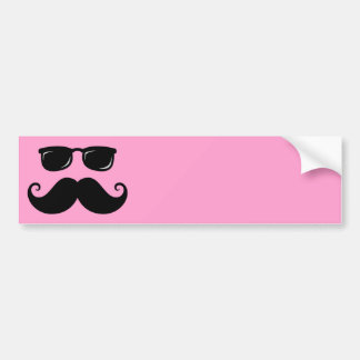 Funny mustache and sunglasses face on pink bumper sticker